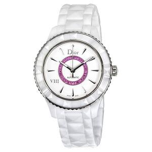 Dior VIII White Dial Ceramic Ladies Watch CD1245EFC001