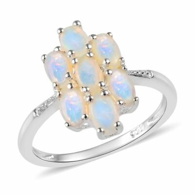 TJC 1.5 Ct Natural Australian Opal Cocktail Cluster Ring Sterling Silver
