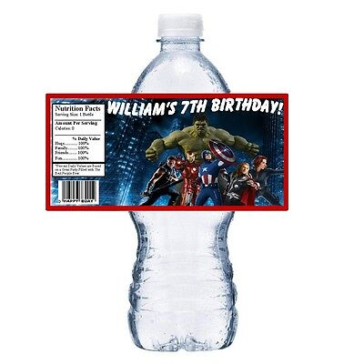 20 AVENGERS PERSONALIZED BIRTHDAY PARTY FAVORS ~ WATER BOTTLE LABELS WRAPPERS - Avenger Party Favors