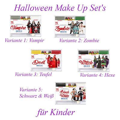 KINDER SCHMINKE Halloween Karneval Zombie Hexe Vampir Teufel Kostüm Make Up MU12