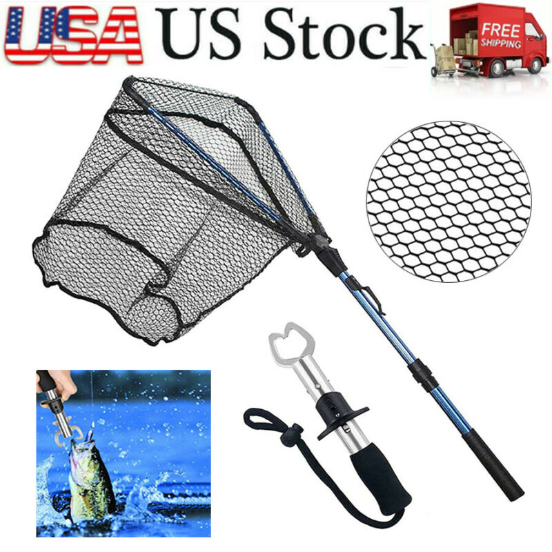 Folding Fishing Landing Net Telescopic Aluminum Handle Trout Catch+ Fish Gripper