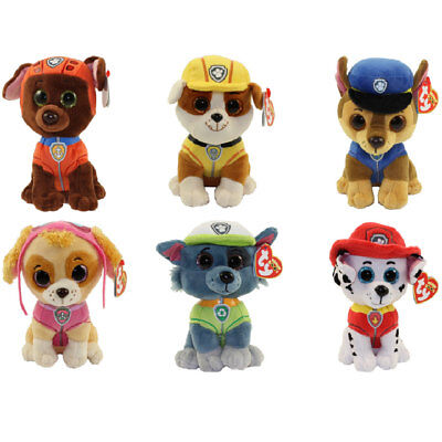 Set of 6 TY Beanie Babies Paw Patrol Plush Chase Marshall Rocky Rubble Skye Zuma