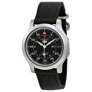 Seiko Mens Black Automatic Black Canvas Strap Watch SNK809