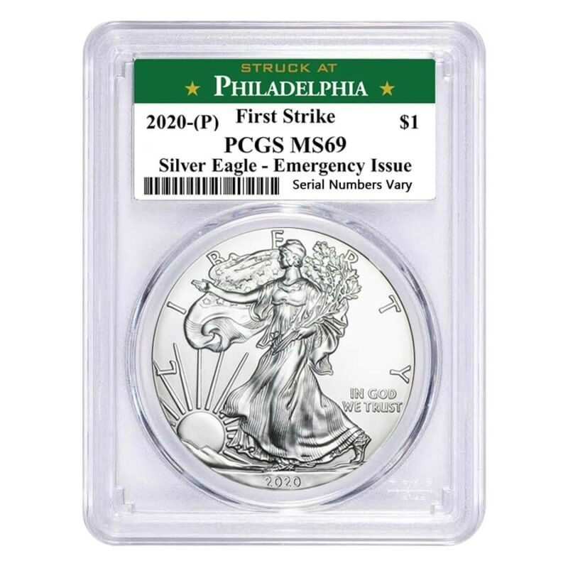 2020 (P) 1 oz Silver Eagle PCGS MS 69 FS (Philadelphia) Emergency Issue