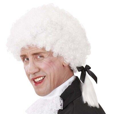 WEIßE MOZART PERÜCKE # Mittelalter Komponist Musiker Kostüm Barock Rokoko 6394