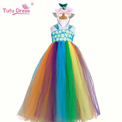 Childrens Girls Mermaid Rainbow Costume Mesh Tutu Tulle Dress + Headband ZG9](Rainbow Costume Child)