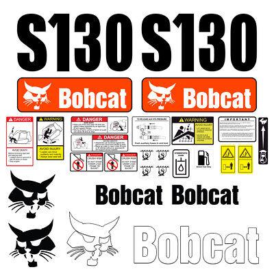 Bobcat S130 Skid Steer Set Vinyl Decal Sticker - 25 Pc - Free Shipping