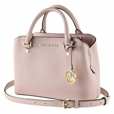 NWT MICHAEL KORS PINK BLOSSOM LEATHER SAVANNAH SMALL SATCHEL CROSSBODY HANDBAG
