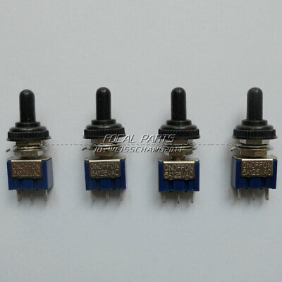 4x Mini Toggle Switch 6a On-off-on 3 Positions Spdt Waterproof Cover Cap M317