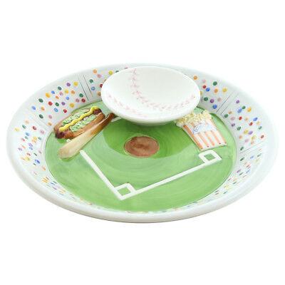 Baseball Chip 'N Dip Glass Bowl