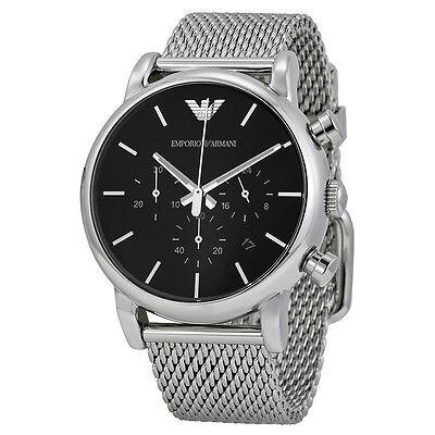 Emporio Armani Classic Watch Black/Silver Stainless Steel Analog Quartz Men's