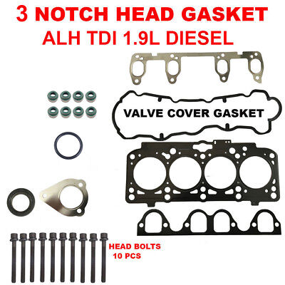 3 NOTCH Engine Cylinder Head Gasket Set With Bolts for VW ALH TDI 1.9L Diesel Diesel Cylinder Head Gasket