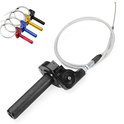 """Universal 7/8"""" CNC Motorcycle Dirt Bike Twister Tube Clamp+Throttle Cable Black"""