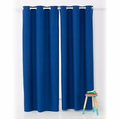 Curtains Ideas boys eyelet curtains : Kids Boys Block Out Eyelet Curtains 1 Pair Navy Blue 120cm(wide) x ...