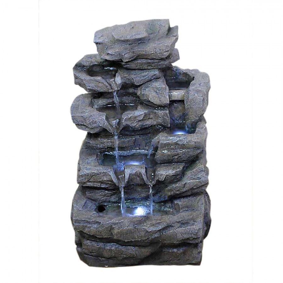 Zimmerbrunnen Höhe 47 Springbrunnen mit 3x LED Beleuchtung Deko Wasserspiel IP44
