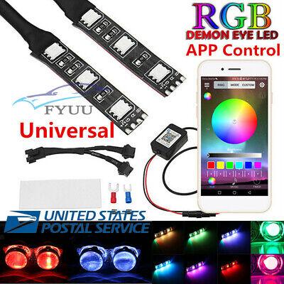 2X RGB Demon Devil Eyes LED Headlamp Projector Retrofit APP Control USA Shipping