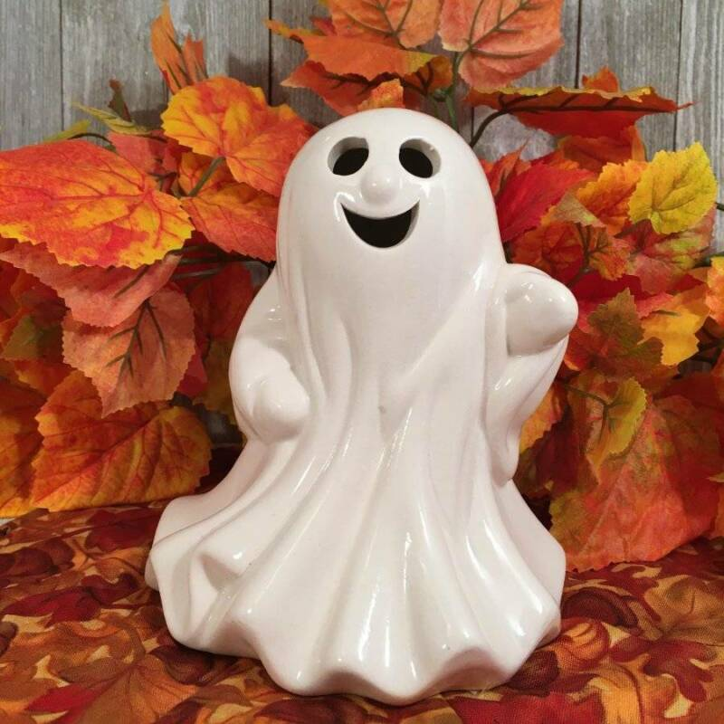 Halloween Ceramic Friendly Ghost Figurine Tea Light Votive Candle Cover Holder