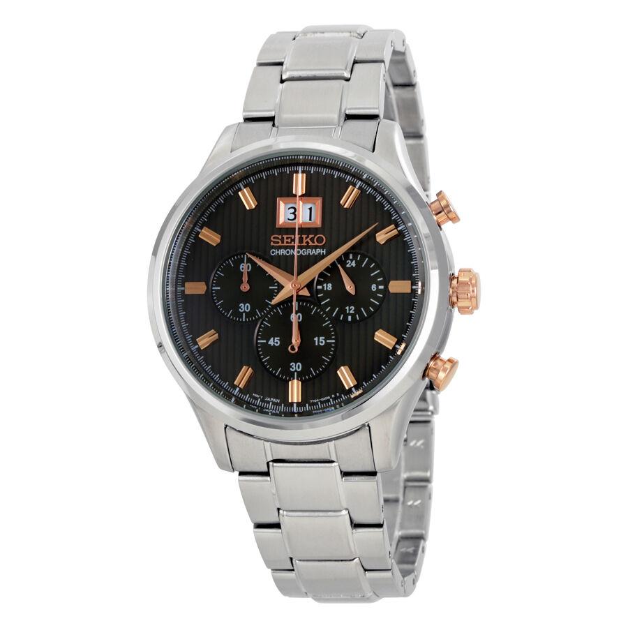 Seiko Men\s SPC151 Quartz Chronograph Black Dial Stainless Steel Watch