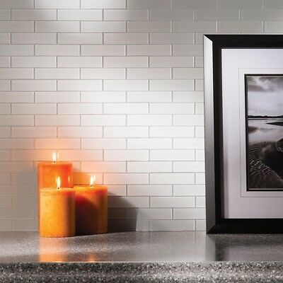 (Peel And Stick Tile Self Adhesive Glass Wall Bathroom Kitchen Backsplash White)
