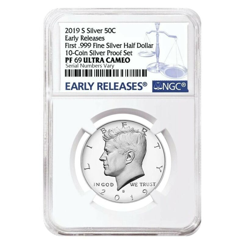 2019 S Proof Silver Kennedy Half Dollar First .999 Fine Silver NGC PF 69 ER