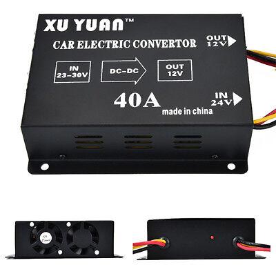 40A DC 24V To 12V Metal Auto Car Power Inverter Transformer Electric Convertor