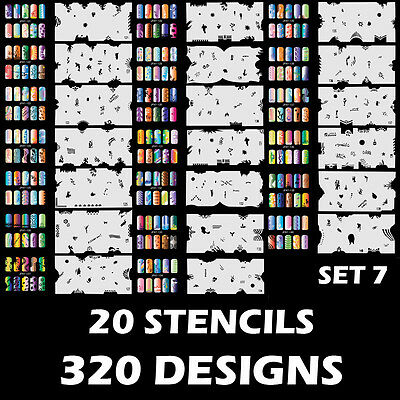 Set 7 320 Airbrush Nail Art STENCIL DESIGNS - 20 Template Sheets Kit Brush Paint