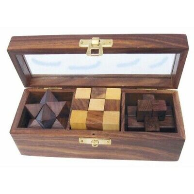 3 Knobelspiele - En Decorativo Caja de Madera Con Tapa de Cristal
