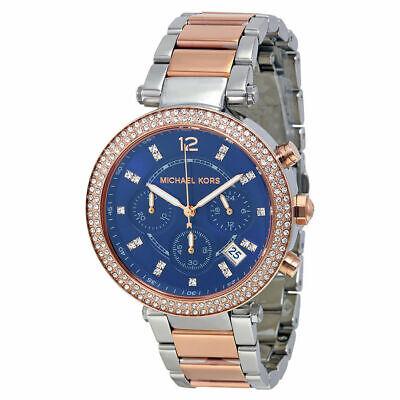 Michael Kors MK6141 Parker Chronograph Blue Dial Two-tone Ladies Watch