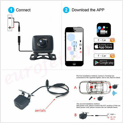 Wireless Wifi HD Car Automobile Rearview Parking Reverse Backup Mini Camera Kit