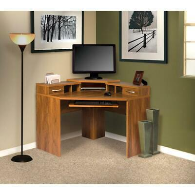 Corner Desk With Monitor Platform Keyboard Shelf And 2 Drawers
