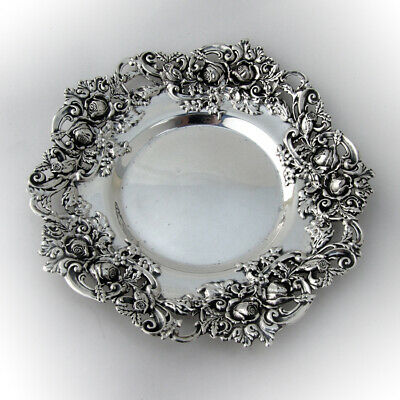 Ornate Plate Roses and Scrolls Sterling Silver Redlich Co 1900