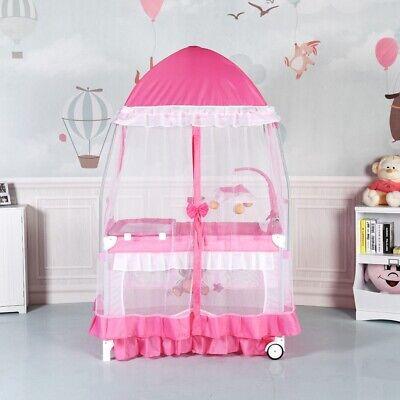 Baby Crib Cradle Bassinet Nursery Furniture Portable Bed Newborn Pink Playpen