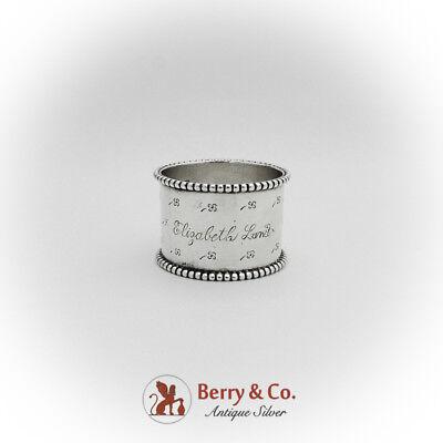 Four Leaf Clover Engraved Napkin Ring Beaded Rim Sterling Silver 1900 (Sterling Silver Engraved Four)