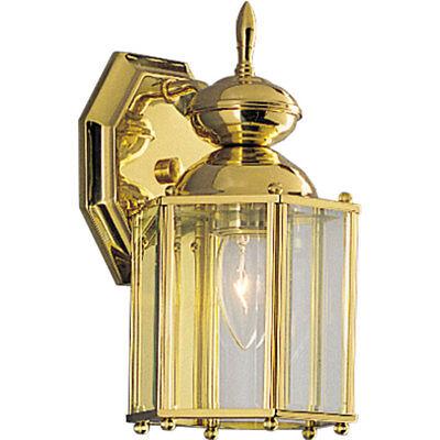 Progress Lighting Brassguard 10.25-in H Polished Brass Outdoor Wall Light Brass Outdoor Wall Light