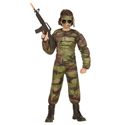 Armee Kinder Kostüme (MUSKEL SOLDAT KOSTÜM KINDER Karneval Party Fasching Armee Tarnanzug Jungen  0051)