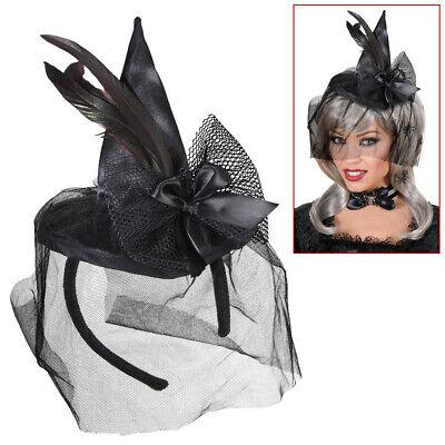 SCHWARZER MINI HEXEN HUT # Halloween Gothic Hexenhut Haarreif Kostüm Party 9369