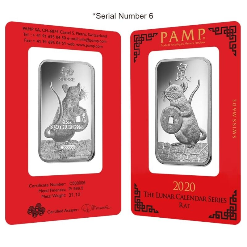 1 oz PAMP Suisse Year of the Mouse / Rat Platinum Bar (In Assay) Serial #6