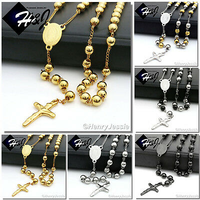MEN Stainless Steel 3.5/6/8mm Silver/Black/Gold Bead Virgin Mary Rosary Necklace](Silver Beaded Necklaces)