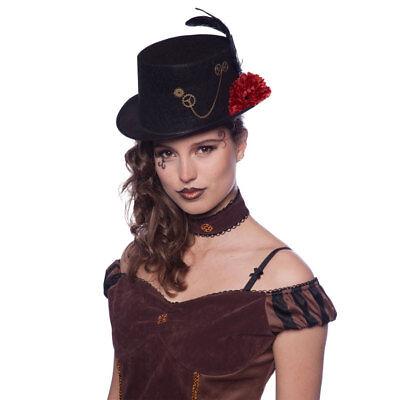 SCHWARZER ZYLINDER # Steampunk Hut Feder Viktorianisches Kostüm - Punk Kostüm Zubehör