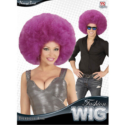 E # 70er 80er Jahre Hippie Hippie Kostüm Party violett 04681 (Lila Afro)