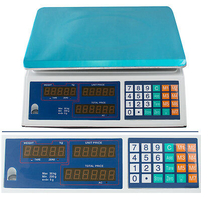 Digital Weight Scale 30kg Price Computing Food Meat Scale Produce Deli Indutrial