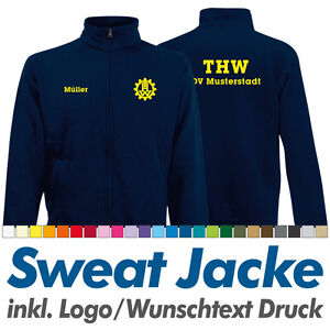 Sweatjacke THW navy, Fruit of the Loom, Sweat Jacke inkl. Ihrem Wunschdruck Logo