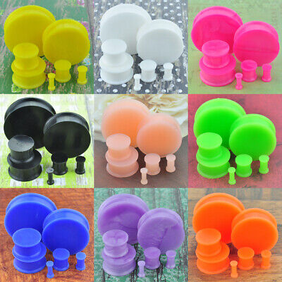 1 Pair Multi-color Glow in the Dark Soft Silicone Flexible Ear Plugs Gauges - Glow In The Dark Ears