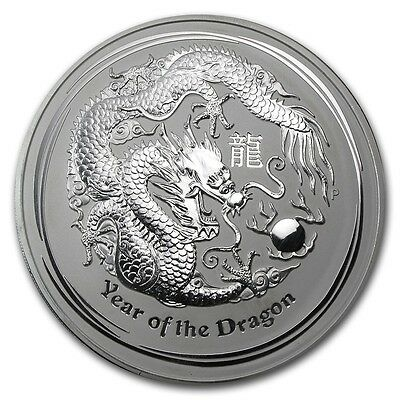2012 Australia 1 oz Perth .999 Silver Lunar Dragon (from mint roll, in capsule)