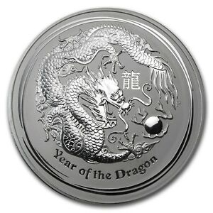 2012 Australia 2 oz Perth .999 Silver Lunar Dragon (from mint roll, in capsule)