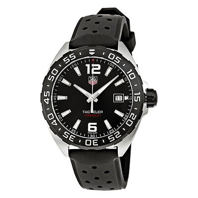 Tag Heuer Formula 1 Black Dial Black Leather Mens Watch WAZ1110.FT8023