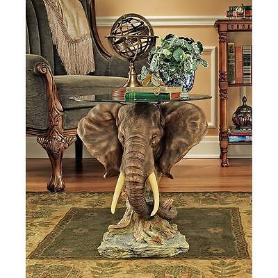 Beveled Glass Top Elephant Sculpture African Safari Trophy Table NEW