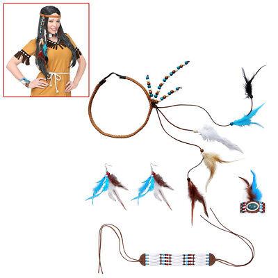 INDIANER FRAU SCHMUCK SET Karneval Indianerin Squaw Damen Kostüm Fest Deko (Indianer Frau Kostüm)