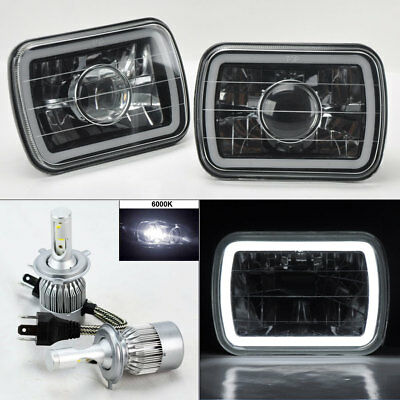 "7X6"" Blk/Chm Projector Glass CCFL Halo Headlights & 6K 36W LED H4 Bulbs Jeep"