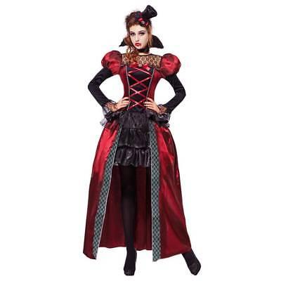 VAMPIRIN DAMEN KOSTÜM & MINIHUT Halloween Viktorianisches Gothic Lady Kleid 0767